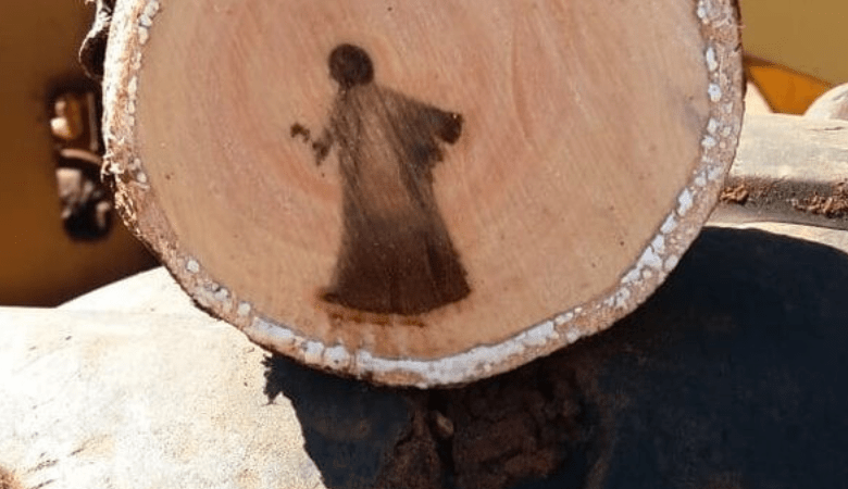 The image of Jesus Christ found on a cut tree trunk