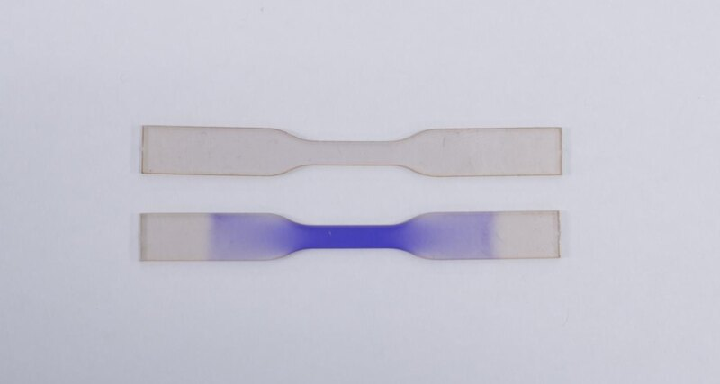 Created material that turns blue when hit