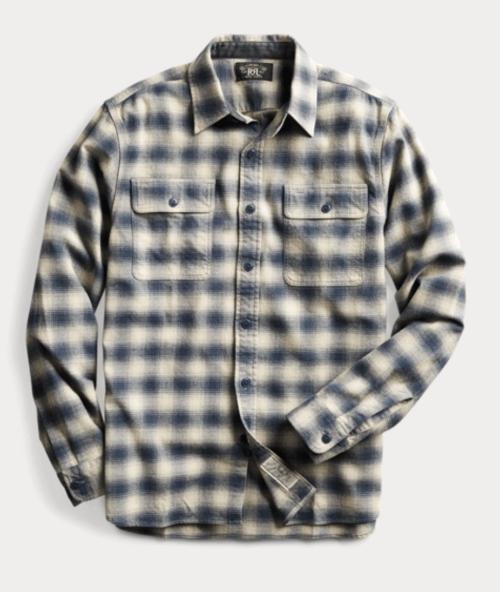 RRL Plaid Cotton-Wool Workshirt RL 222CREAM