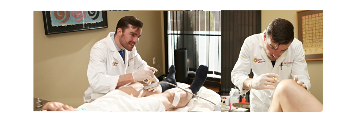 naturopathic doctor performing prolotherapy on patient's knee, regenerative injection, regenerative medicine