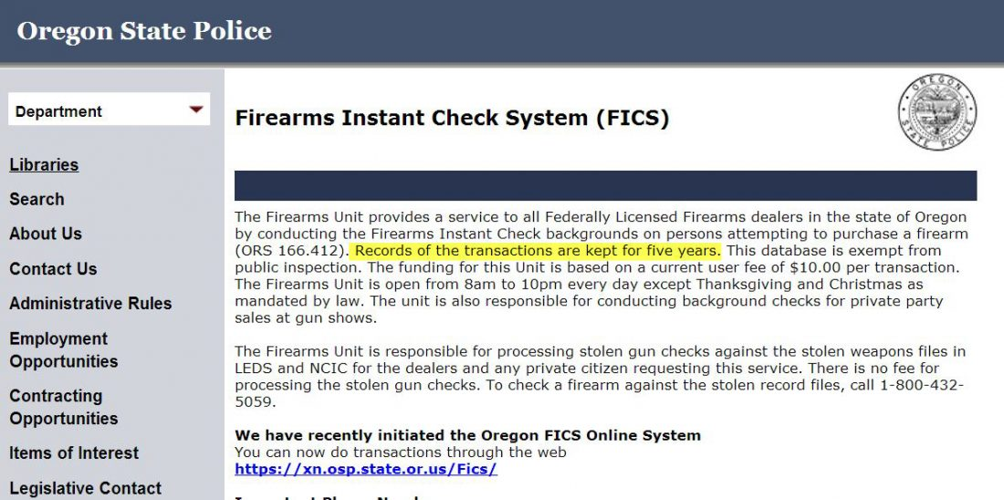Records retention of Oregon firearms background checks ...