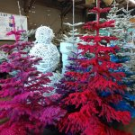 colorful flocked trees