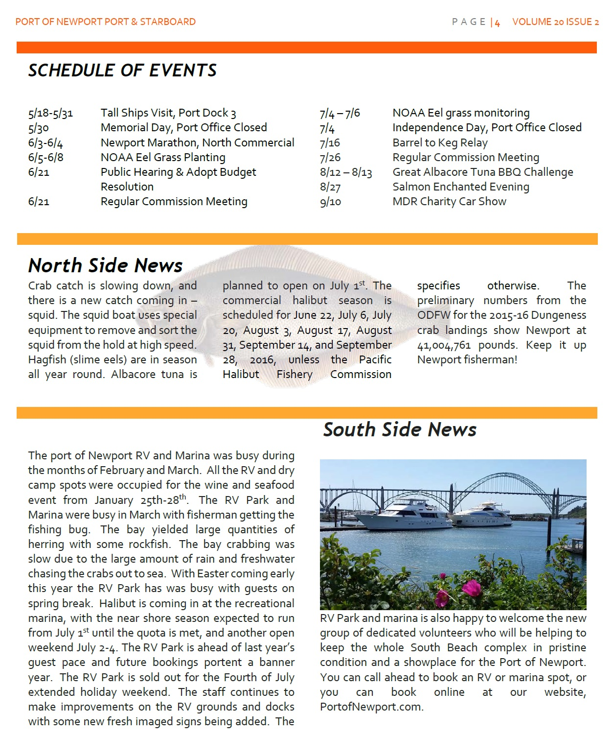 Jun2016 - Port of Newport - Port & Starboard Newsletter Volume 20 Issue 2 online edition 4