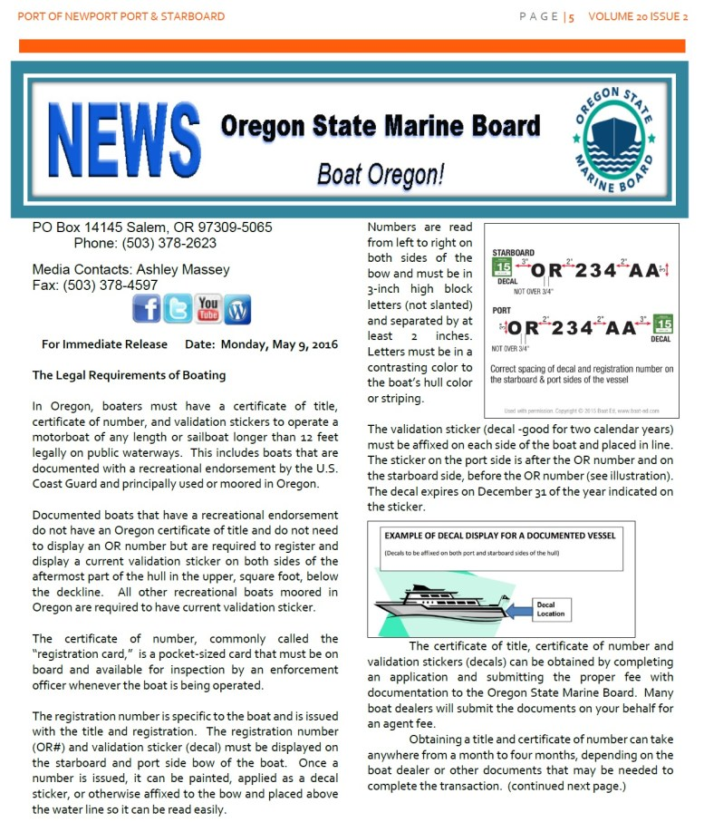 Jun2016 - Port of Newport - Port & Starboard Newsletter Volume 20 Issue 2 online edition 5