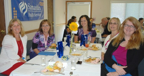 Among the Samaritan North Lincoln Hospital staff enjoying the celebratory luncheon are, from left, Theresa Via, Gwen Powers, Kelsey Wand, Nancy Boogaard and Cathy Carr-Hoefer.