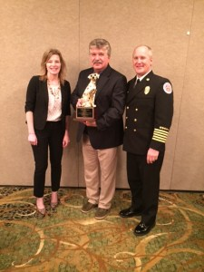 Oregon Life Safety Team's Stephanie Stafford, Captain Jim Kusz and Oregon State Fire Marshal Jim Walker.