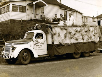 A truck decked out for the Crab Festival parade, 1948