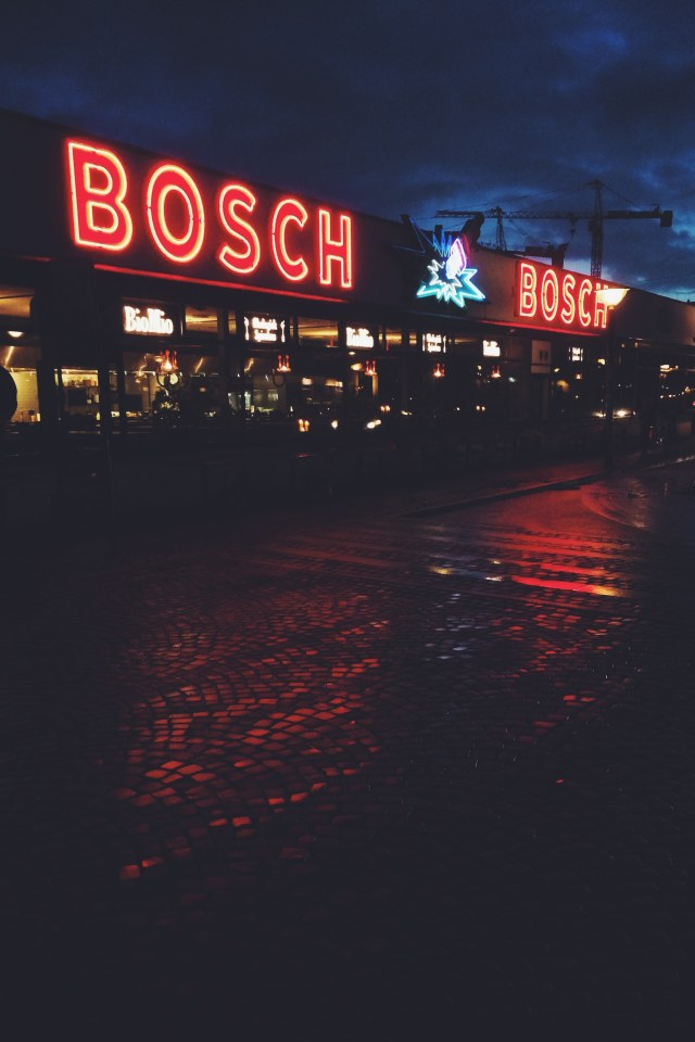 Bosch neon lights up Copenhagen night sky