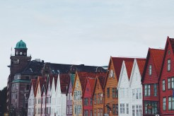 Wobbly buildings in historic Bryggen