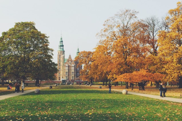 Rosenborg Slot glows in Fall, Copenhagen Denmark