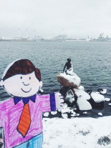 Flat Stanley visits Little Mermaid Copenhagen Denmark