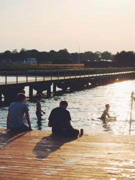 Public baths in the late summer late - swimming in the sea in Dragør, near Copenhagen