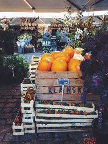 Pumpkins and fall decor at the Glass Market, Copenhagen Denmark