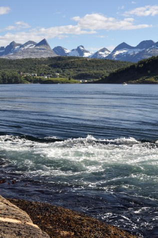 Beautiful mountains and water pouring in World's Wildest Whirlpools | Saltstraumen near Bodo Norway | Oregon Girl Around the World