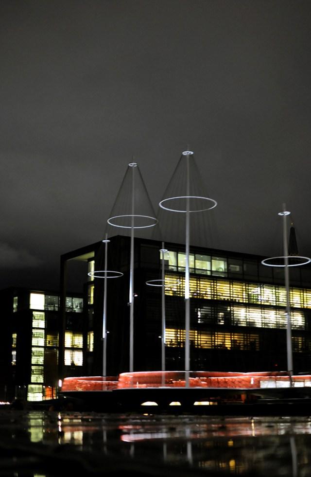 Light display on the Cirklebroen Circle Bridge by Danish-Icelandic Artist Olafur Eliasson | Copenhagen Denmark | Light Festival February 2018 | Oregon Girl Around the World