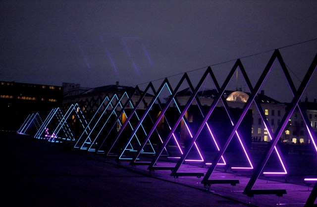 Triangles of light from The Wave on Ofelia Plads for Frost Festival 2018 | Copenhagen Light Festival | Oregon Girl Around the World