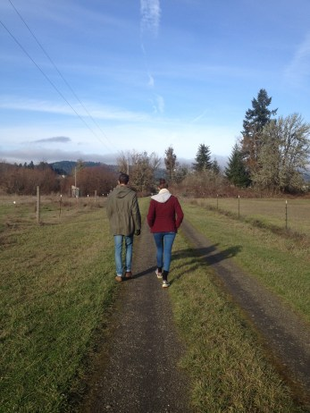Walking down our country road.