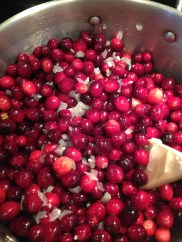 Start cooking the cranberries