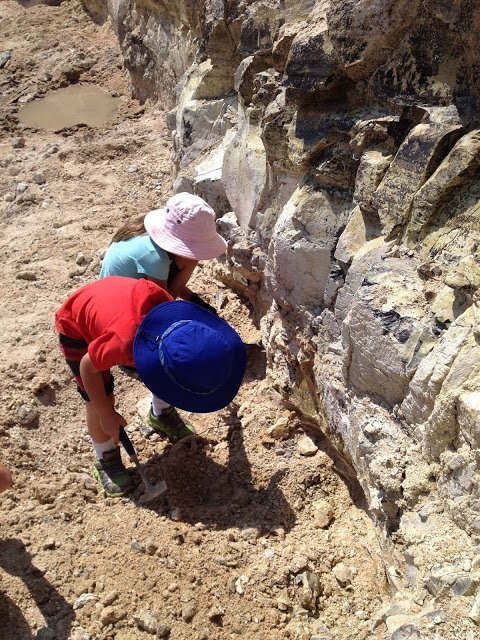 Our kids digging thundereggs