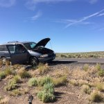 Car trouble on the road to obsidian - Glass Buttes, Oregon