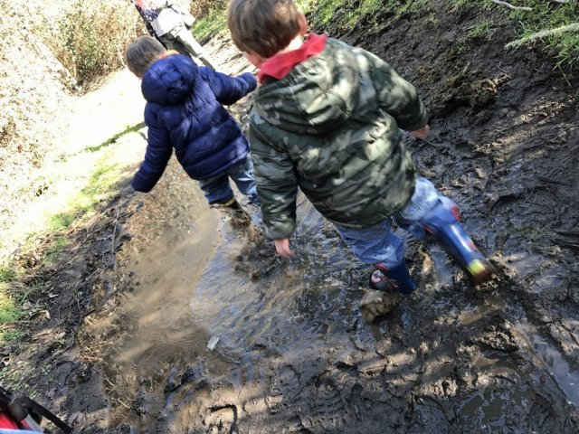 Kid-friendly hiking in the mud