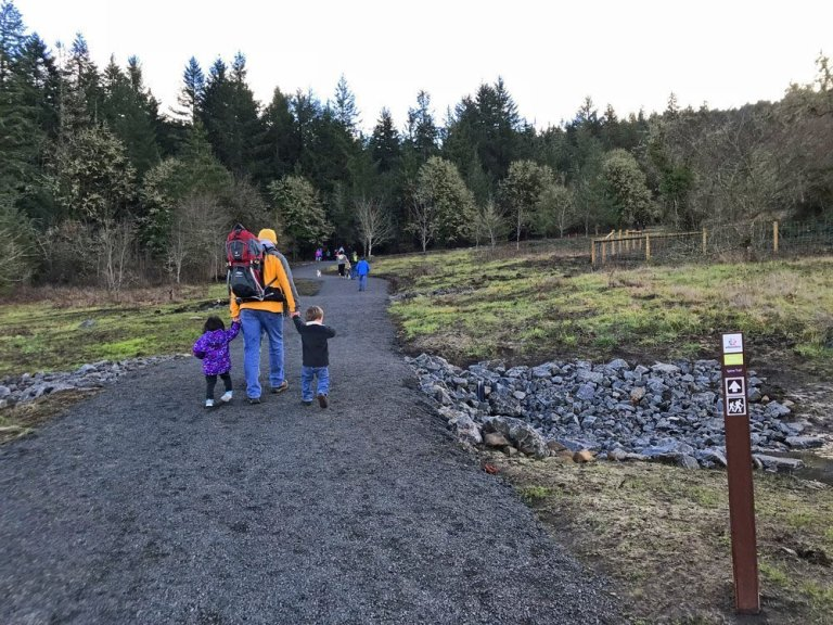 Family hiking the new Thurston Hills trail.