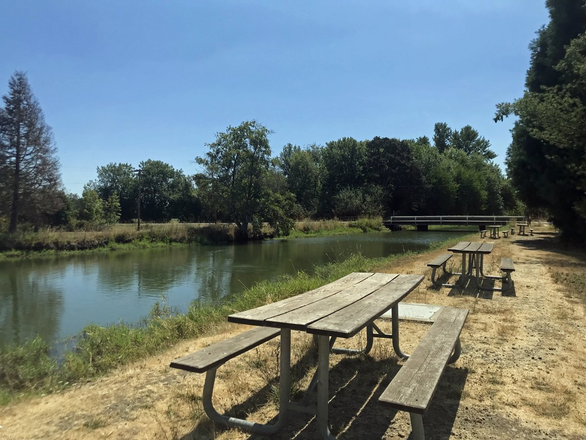 Picnic tables line the mill race at Thompson's Mill State Heritage Site