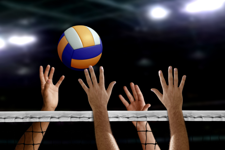 Oregon Senior Games - Volleyball - via Canva - Several hands reaching over a net for a blue and yellow volleyball