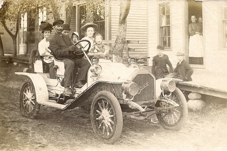 Family in the old Buick