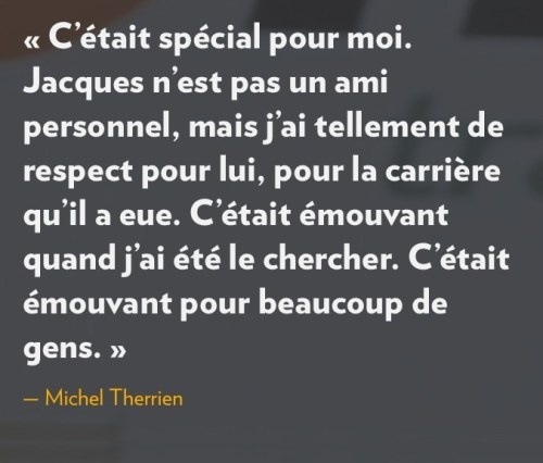 Déclaration de Michel Therrien sur Jacques Demers, la Presse+, 19 octobre 2016