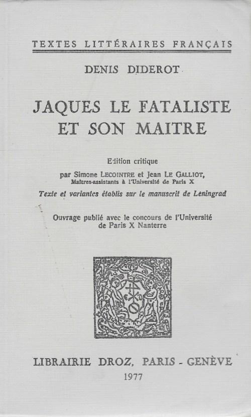 Denis Diderot, Jaques le fataliste et son maître, éd. de 1976, couverture