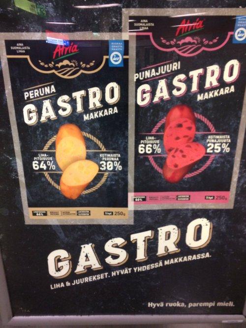 Produit alimentaire nommé «gastro» en Finlande