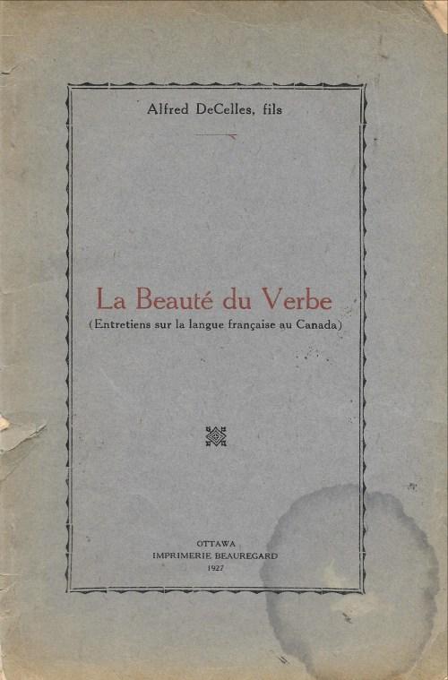Alfred Decelles fils, la Beauté du verbe, 1927, couverture