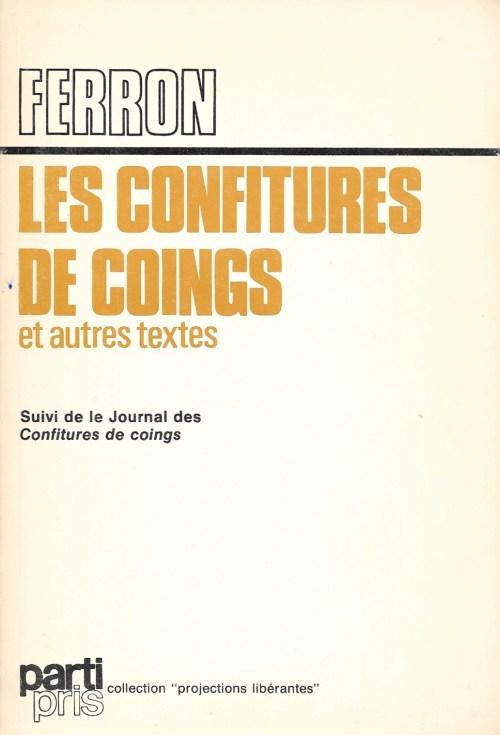 Jacques Ferron, les Confitures de coings et autres textes, 1977, couverture