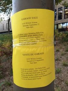 Vente «du» garage, affichette