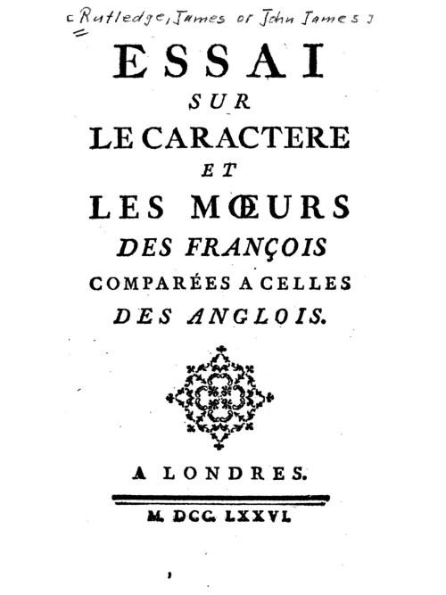 Jean-Jacques Rutlidge, Essai sur le caractère et les mœurs des François comparés à ceux des Anglois, 1776, page de titre
