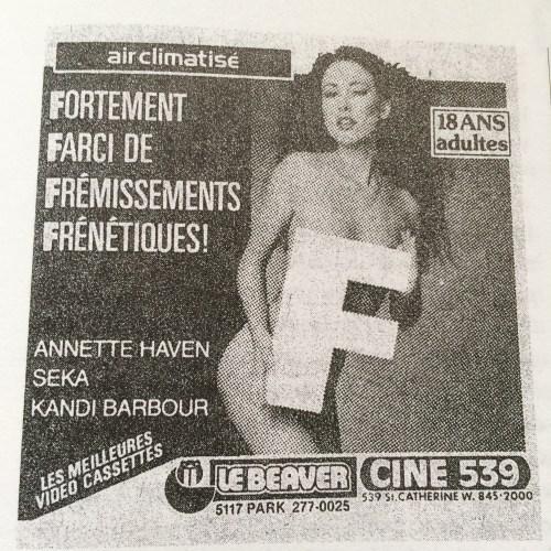 Affiche de film érotique, dans le Dictionnaire de la censure au Québec, 2006, p. 553
