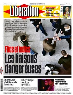 Libération, 19 août 2015, en une