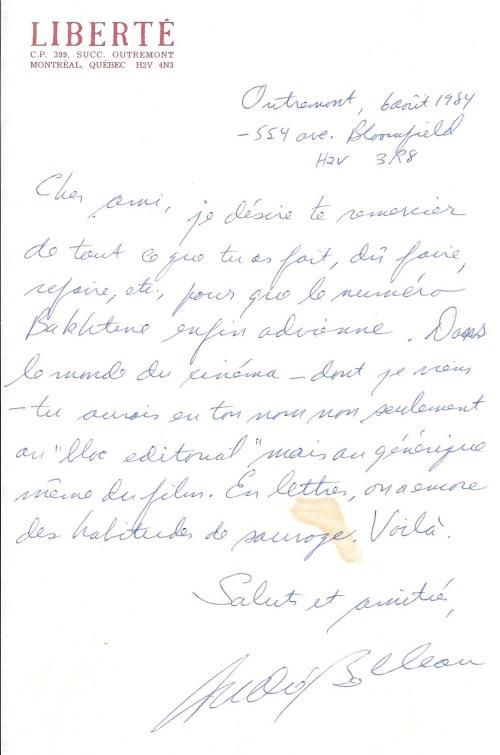 Lettre d'André Belleau à Benoît Melançon, 6 août 1984