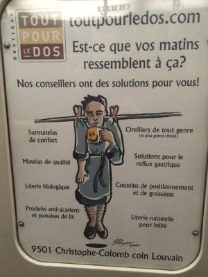 Publicité, métro de Montréal, novembre 2015