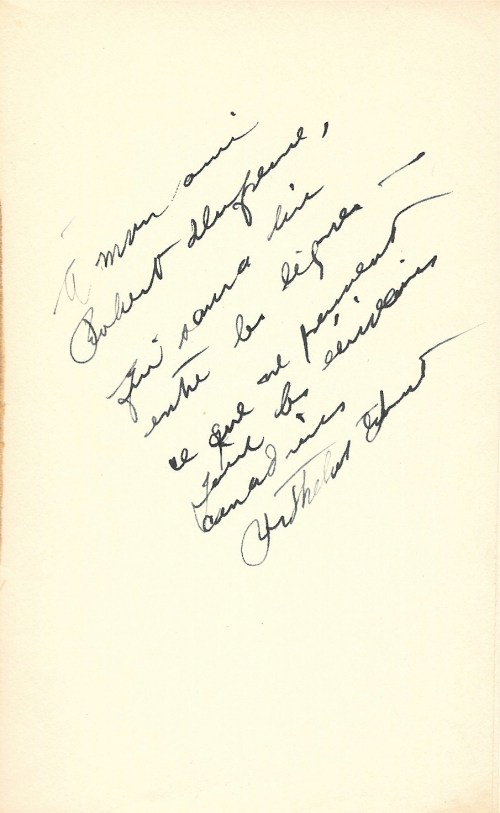 Berthelot Brunet, Histoire de la littérature canadienne-française, 1946, dédicace
