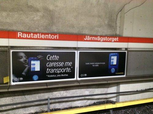 Finlande, publicité dans le métro, 2016