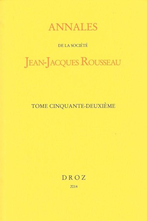 Annales Jean-Jacques Rousseau, 52, couverture