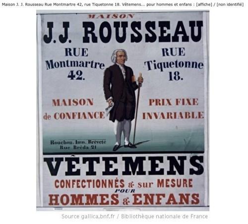Affiche de J.J. Rousseau vêtements
