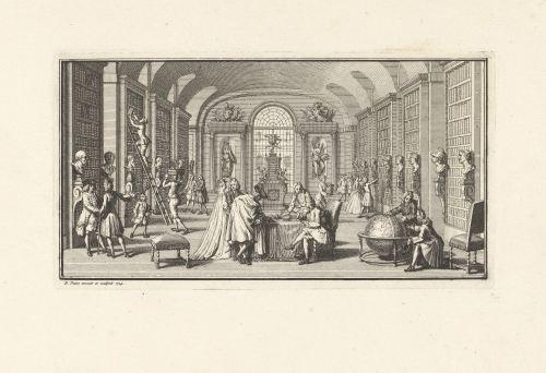 Intérieur d'une bibliothèque, Bernard Picart, 1724, Rijksmuseum, Amsterdam