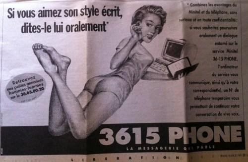 Publicité pour Minitel, quotidien Libération, date inconnue