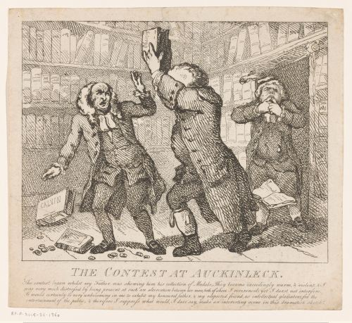 «The Contest at Aucklinleck», gravure de Thomas Rowlandson, Londres, 1786