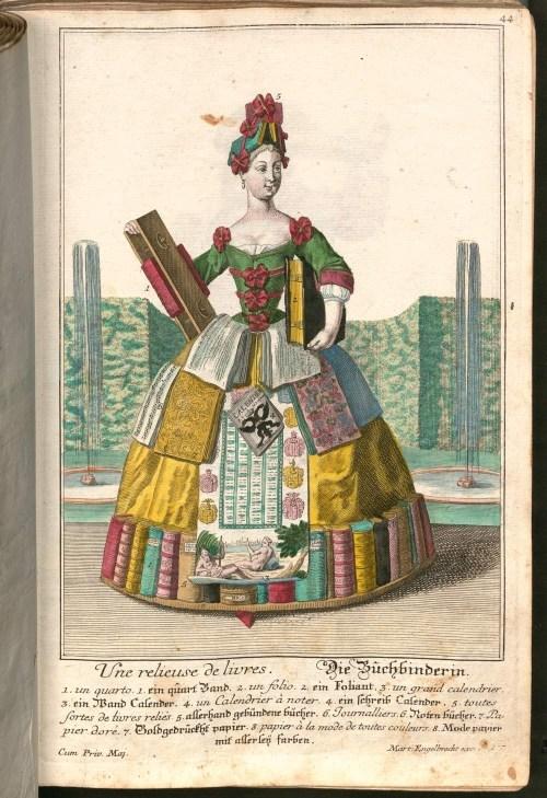 «Une relieuse de livres», gravure, circa 1730