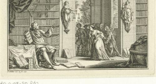 Homme dans une bibliothèque, gravure, 1751