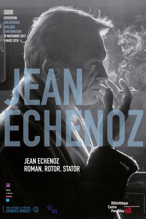 Affiche de l'exposition «Jean Echenoz. Roman, rotor, stator», Paris, 2017